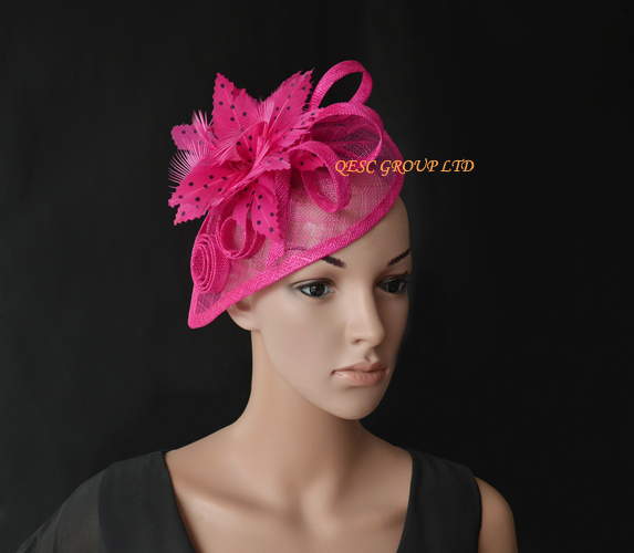 Fuchsia hot pink sinamay fascinator with polka dot feather for Kentucky Derby,wedding,races.(China (Mainland))
