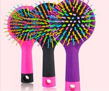 Rainbow Volume Anti-static Magic Hair Cosmetic Makeup Curl Straight Massage Comb Brush Beauty Mirror Styling Tool 1679(China (Mainland))