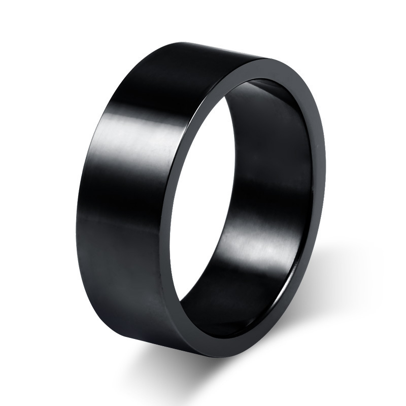 Size7-12 Couples 8mm Titanium Steel Black Rings for Men Wedding Bands Forever Love Promise Engagement Ring Anel Aneis R027(China (Mainland))