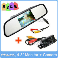 2015 New IR LED Night Vision Car Rear View Camera With 4.3 inch Color LCD Car Mirror Monitor Free Shipping