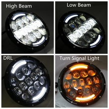 DOT Approval 7 Inch 105w Led Headlight DRL tURN Signal Light Wrangler Jk Tj Fj Harley Davidson Cruiser Lights - FACTORY DIRECT SALE CAR LED store
