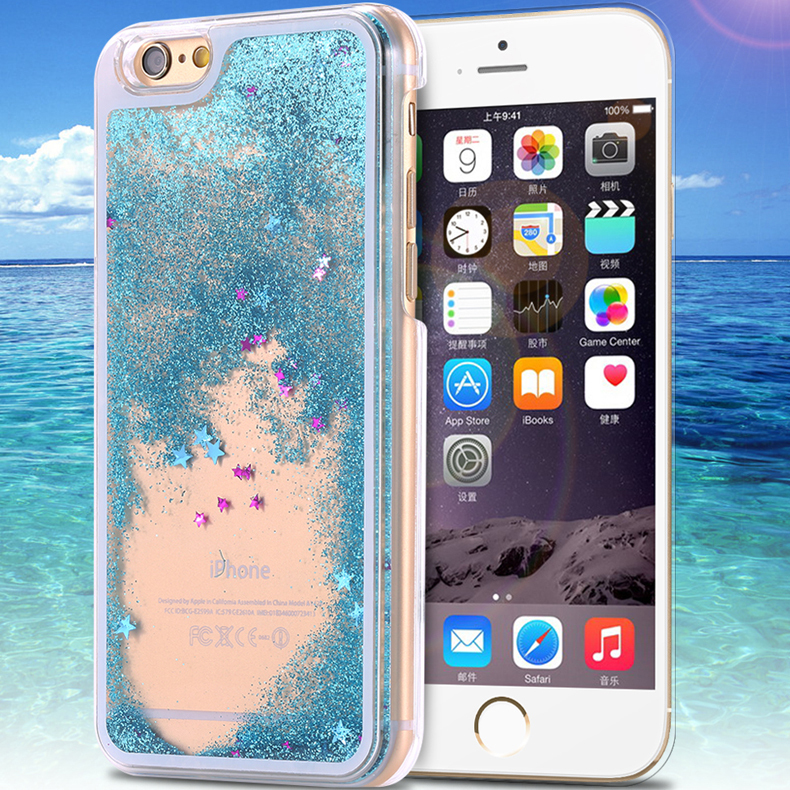 i6 Dynamic Liquid Glitter Sand Quicksand Star Case For iphone 6 Plus Crystal Clear Cellphone Back Cover For Apple iphone 6 4.7''(China (Mainland))
