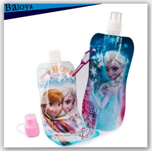 Children water bottle outdoor sport biking portable cartoon folding water bag for kids 500ml(China (Mainland))