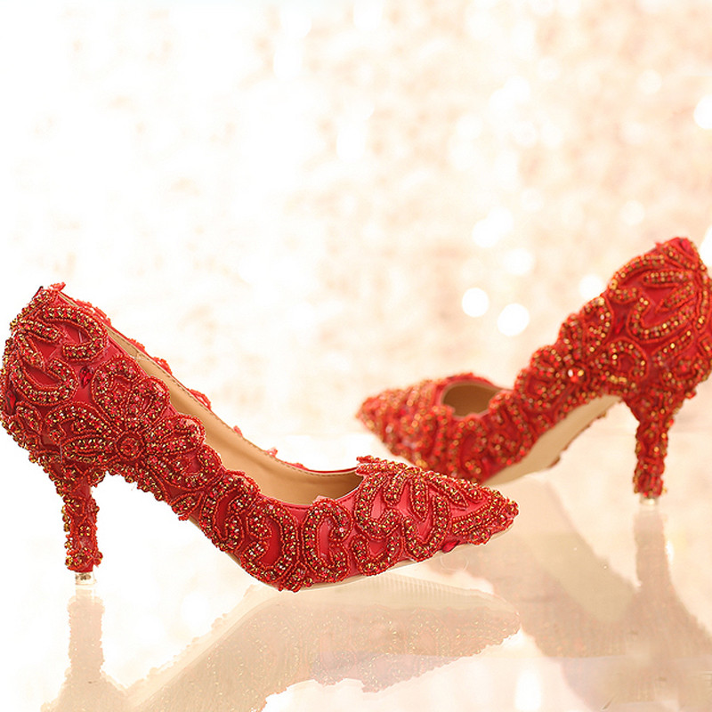 Gorgeous High Heels Pointed Toe Women Shoes Bright Formal Dress ShoesRed Color Rhinestone Wedding Shoes Lady Party Prom