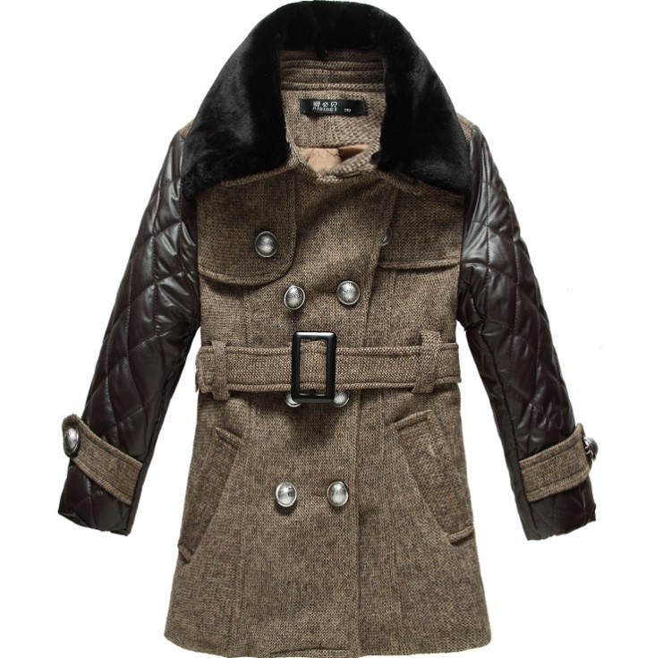 Clothing overcoat leather 2013 winter trench woolen wadded jacket male child overcoat outerwear 4 to 12 yrs kid<br><br>Aliexpress