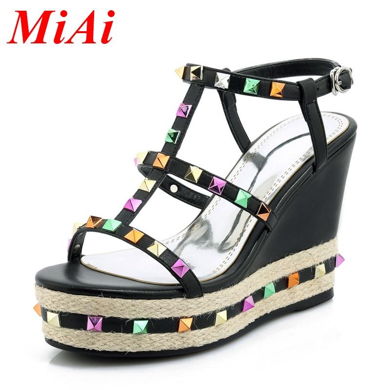 summer vintage platform wedges high heels shoes woman sandals fashion high heeled sandy beach rainbow gold rivets casual shoes<br><br>Aliexpress