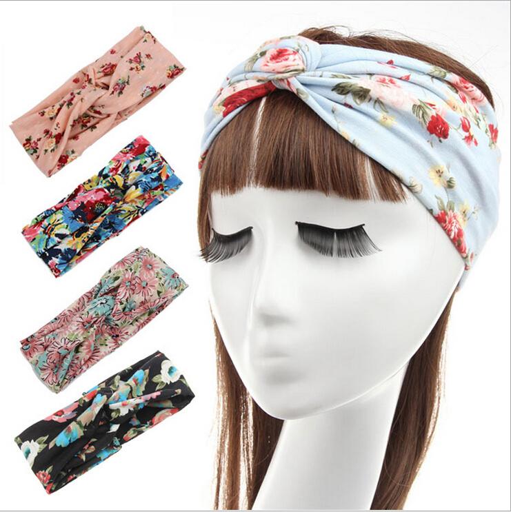 [해외]Lulu Floral Turban Knot Headband Turbante Boho Flo..