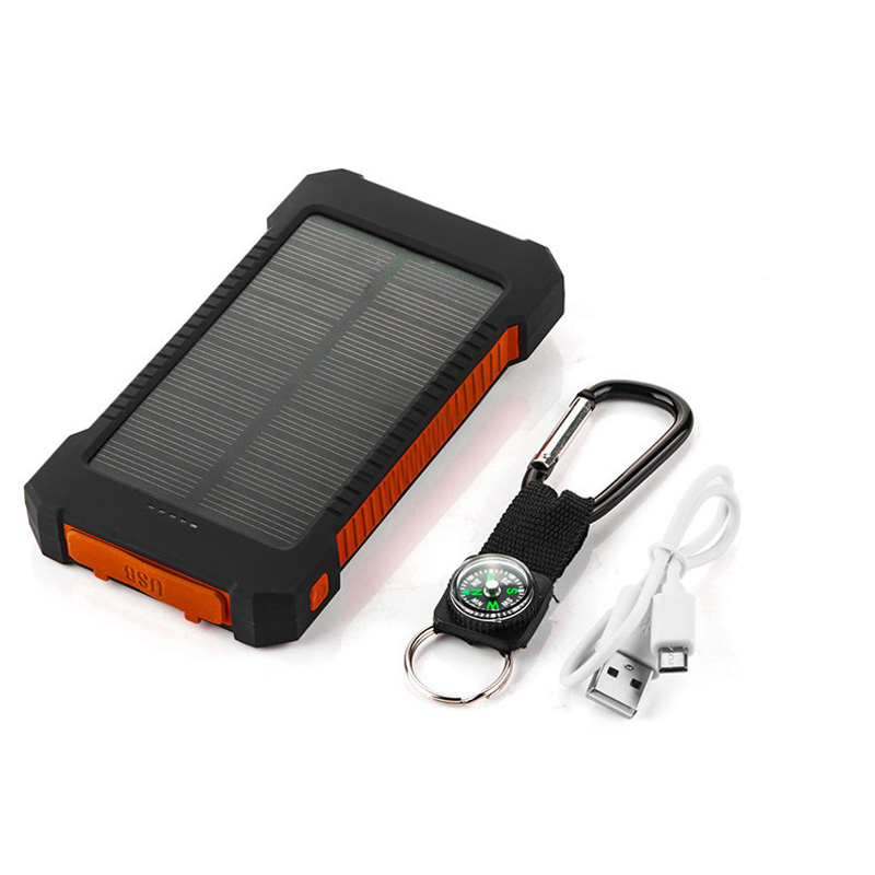 Shock drop resistance Waterproof Solar Power Bank 10000mah Dual USB Bateria Externa Portable Solar Charger Powerbank for hiking(China (Mainland))