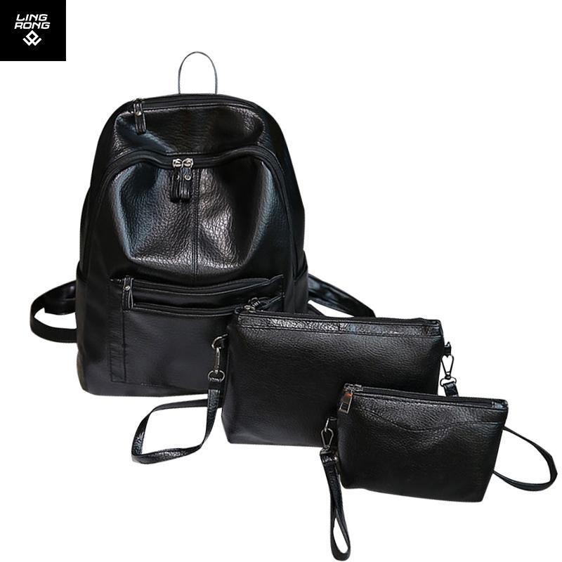 3pcs/set Small Women Backpacks Female 2017 School Bags for Teenagers Girls Black PU Leather Women Backpack Shoulder Bag Packbag(China (Mainland))