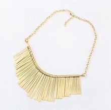 Sunshine Fashion jewelry Collar Necklace Metal Multilayer Chain Tassel Choker Bib False Gold silver necklace for lady Women X019(China (Mainland))