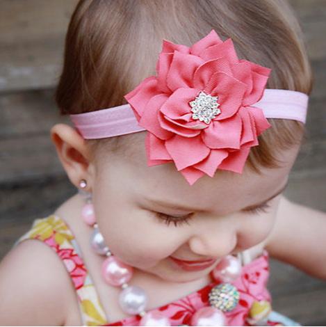 2015 новорожденных цветок лотоса повязка на голову с блестящими груша кнопка младенческой шифон повязка на голову волосы группа аксессуары W023