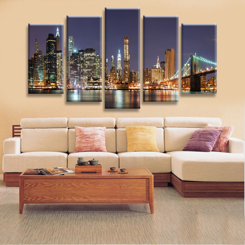 Beautiful City Landscape Canvas Wall Art 5 Pieces Large Wall Pictures For Living Room Wall Art
