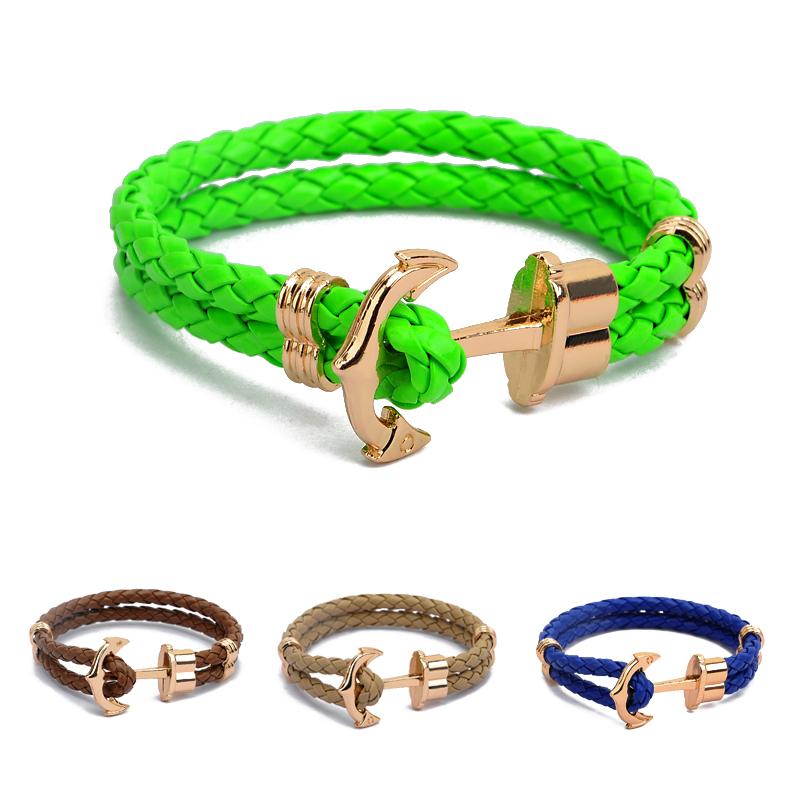 High Quality Fashion Jewelry PU Leather Bracelet Men Anchor Bracelets for Women Best Friend Gift Summer