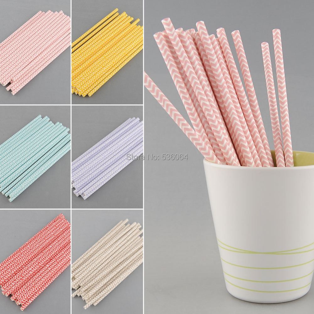 100 PCS Environmental  Chevron Striped Paper Drinking Straws For Party Prom Supply free shipping(China (Mainland))