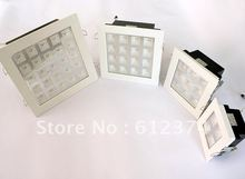 50pcs wholesales 4w/9w/25w led grille ceiling indoor light high lumen downlight square white spot grille lighting lamp(China (Mainland))