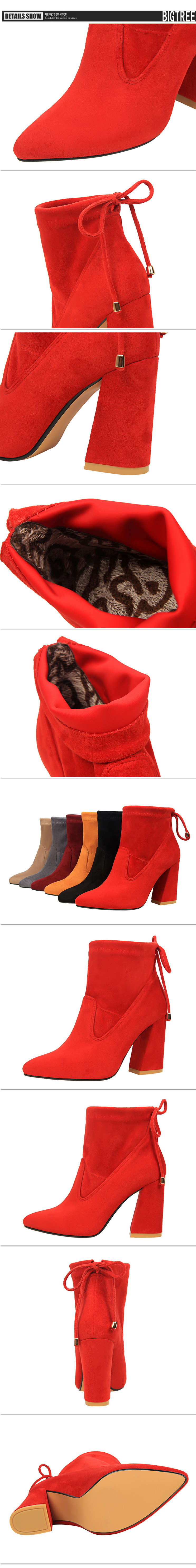Winter Autumn New Thin High Heels Pumps Women Fashion Boots Shoes Elegant Sexy Comfortable Ankle Boot Shoes Black SMYDS-A1004