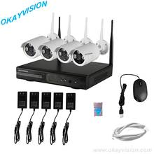 Plug&play VGA/HDMI output full hd 4CH WIFI NVR KIT,Outdoor Array Waterproof Wireless CCTV Security Camera p2p 1080p nvr Kit