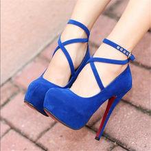 Sıcak Moda Yeni yüksek topuklu ayakkabılar kadın pompaları düğün parti ayakkabıları platformu moda kadın yüksek topuklu ayakkabı 11 cm süet siyah Boyutu(China)