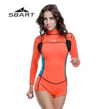SBART 2mm neoprenu kobiet skafander krótki Kite Surfing nurkowanie z rurką stroje kąpielowe strój kąpielowy strój kąpielowy nurkowanie z aparatem tlenowym jednoczęściowy garnitur plaża wysypka osłona(China)