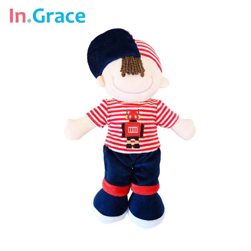 InGrace fashion sunny boys dolls with red hat and robot coat stuffed baby boys gift doll high quality soft plush toy for boys(China (Mainland))