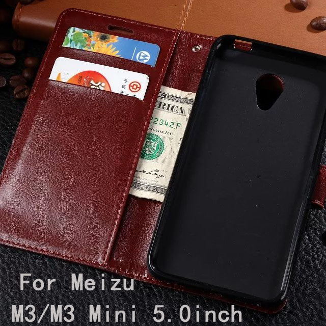 For Meizu M3 Mini M3 Vintage Wallet TPU+PU Leather Cases Stand Card Holder Phone Bags Cover For Meizu M3 M3mini Phone Skin Cover(China (Mainland))