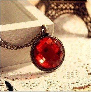Retro Red gem necklace fashion jewelry X4128