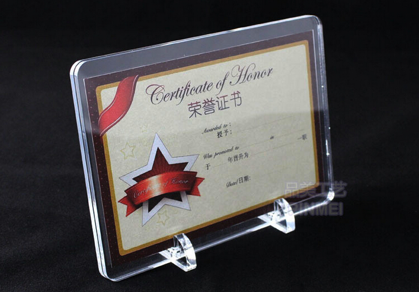 Small Size Clear Acrylic Certificate Frame With Base Included for Display(China (Mainland))