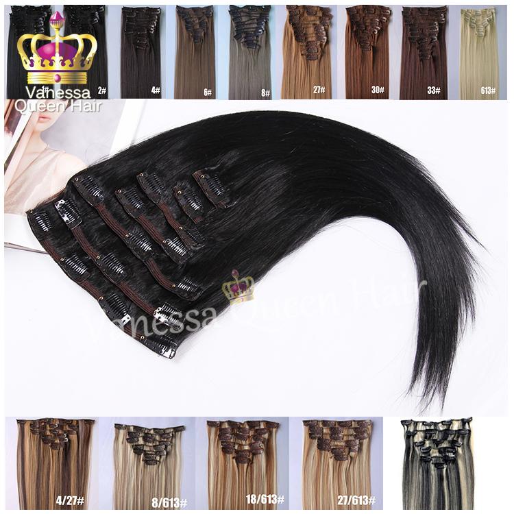 "Гаджет  7pcs/set 22"" 55cm 130g Clip in Hair Extensions Synthetic Clip In Hair Extension Straight Hair Extension Free Shipping None Волосы и аксессуары"