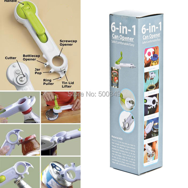 Progessive 6 in 1 Can Opener Mutil Openers Kitchen Tool Built-in Cutting Gripping and Twisting Tools