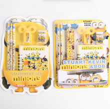 Creative Despicable Me Minions Cartoon Stationery Set Notebook Pencils Eraser Pencil Sharpener Ruler Gift Stationery(China (Mainland))