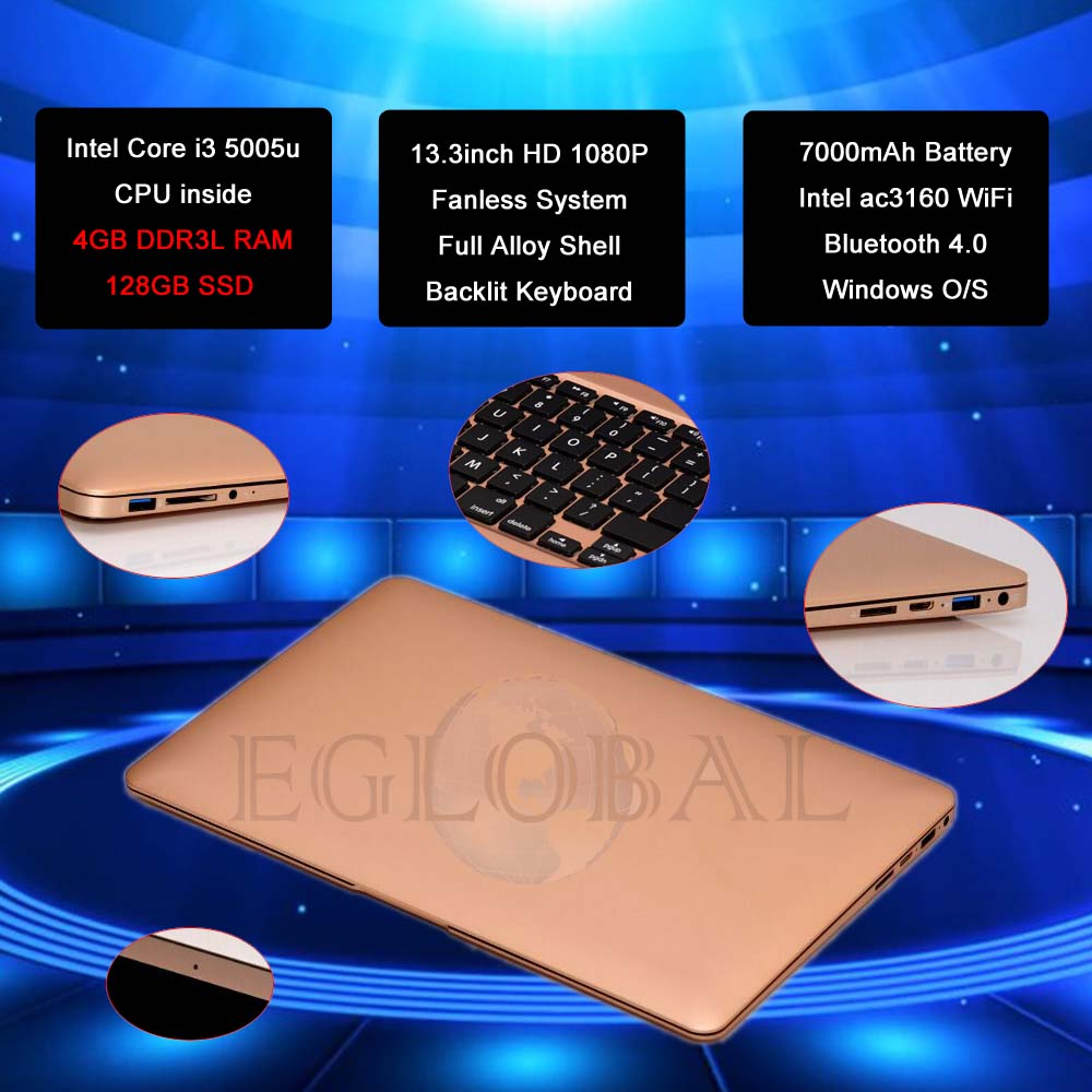 Eglobal Fanless Netbook 13.3inch Screen 7000mAh Battery 2.0M FHD Camera Max 433M WiFi BT Better Than Mini PC Computer or Laptop(China (Mainland))