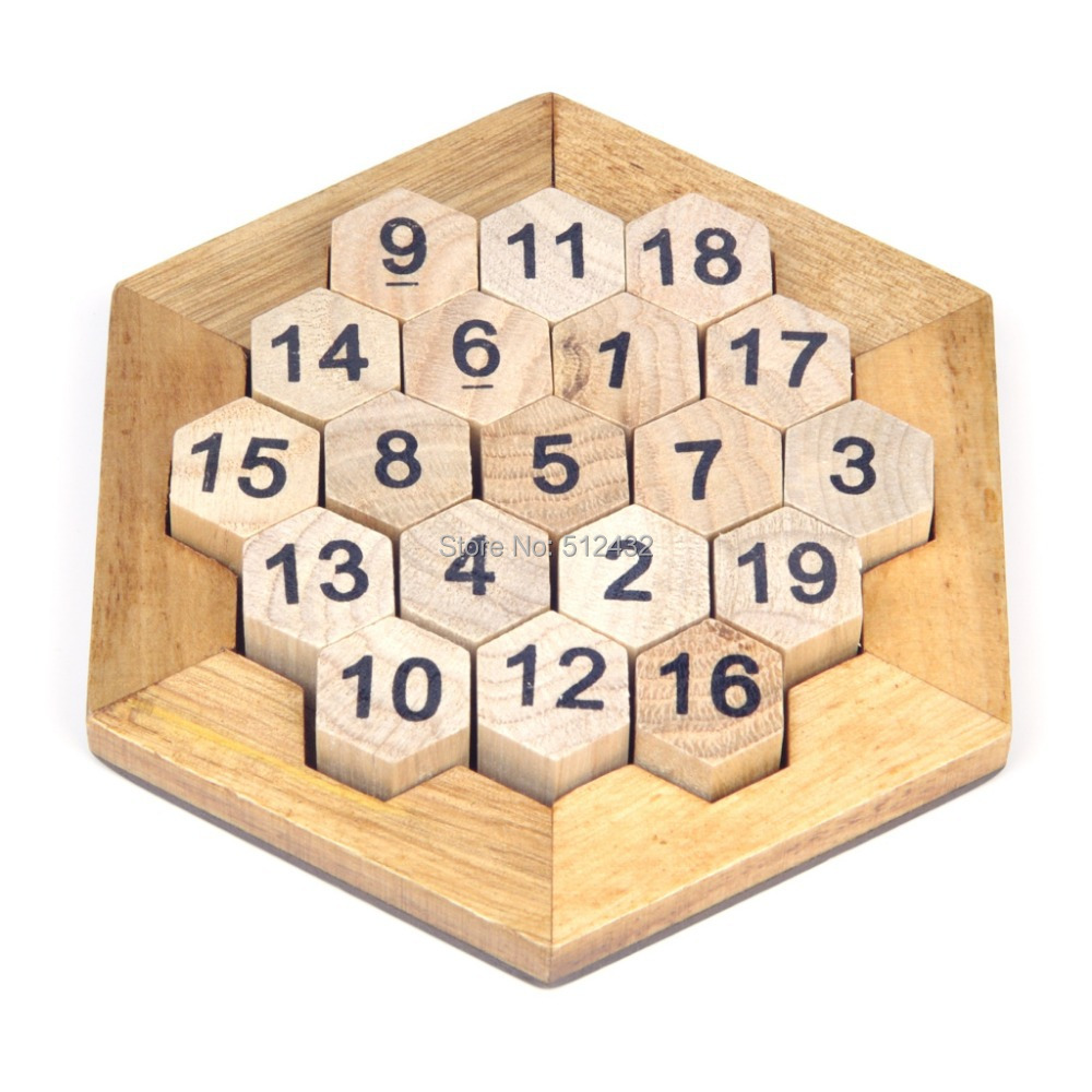 Mini Wooden Hexagon Digital Cellular Platter Board Game Puzzle(China (Mainland))