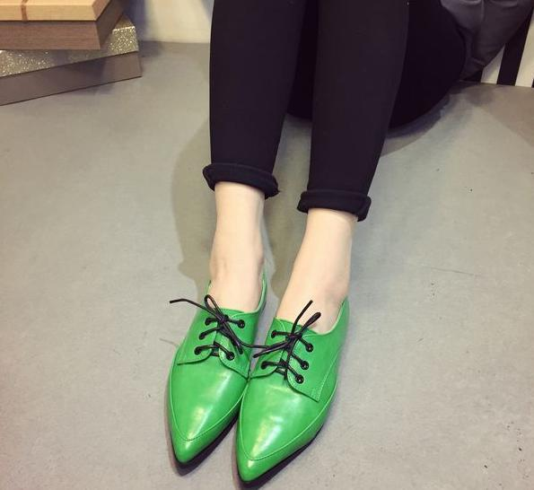 2015 solid color single shoes flat lacing british style cool casual flats women's heel pointed toe woman - Spirit Spa store