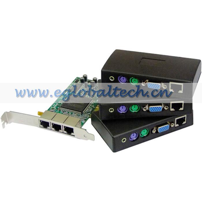 free shipping ems 1 PCI card + three small thin client terminals, 1 pc connecting 7 multi user sharing, ncomputing net computer(China (Mainland))