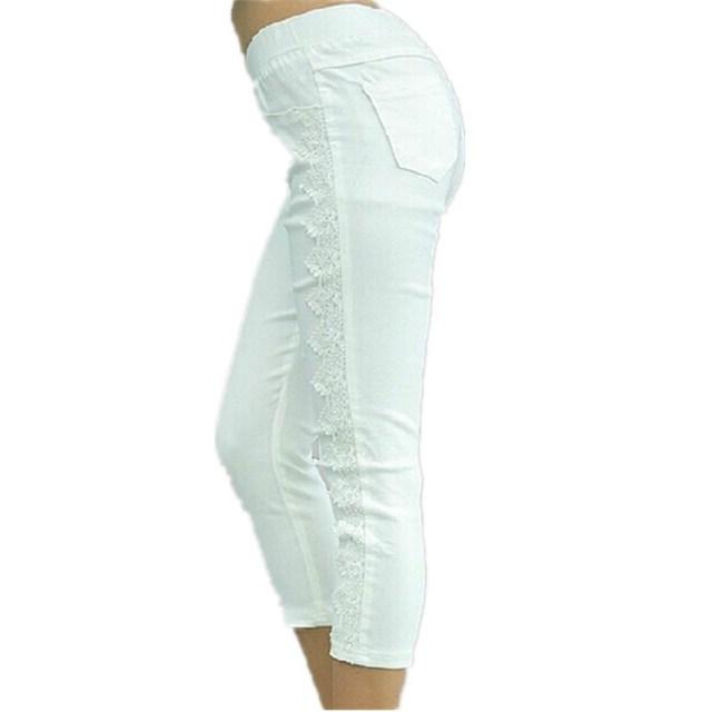 Большой размер женские брюки мода 2016 летние дамы черный и белый кружева свободного ...