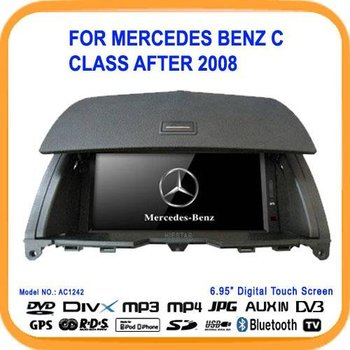 "6.95"" Car DVD Player For Mercedes Benz C class after 2008 car gps with bluetooth DVD/BT/TV/FM/IPOD/RDS/CDC/GPS (AC1242)"