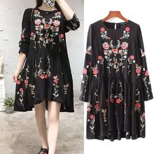 Buy 2017 women vintage long sleeve flower floral embroidery black dress elegant vestidos casual loose round collar ruffle dresses for $22.09 in AliExpress store