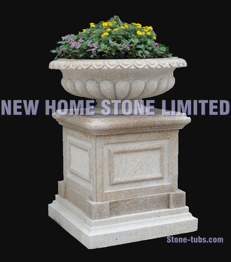Outdoor planter large garden decoration flower pot manufacturers 2015 Classic Light Grey Granite polished flower pot with base(China (Mainland))
