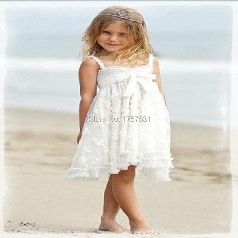 2016 new simple lace a line bow beach flower girl dresses for Beach wedding flower girl dresses