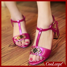 women ankle strap square high heel sandals sexy fashion candy color ladies heeled footwear heels shoes big size 30-48 P18482(China (Mainland))