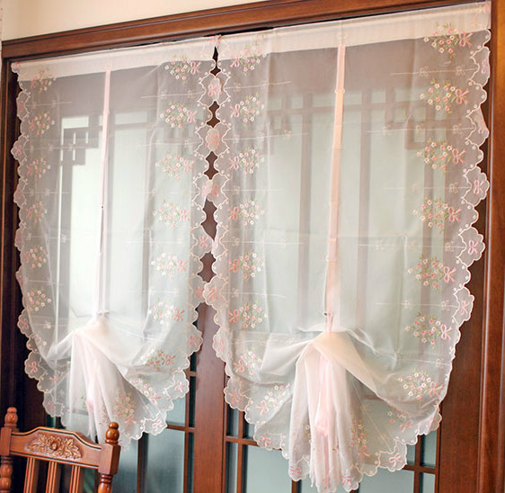 Free Shipping Pink Bow Bay Window Yarn Balloon Curtain Sector Roman Blinds For Living Room