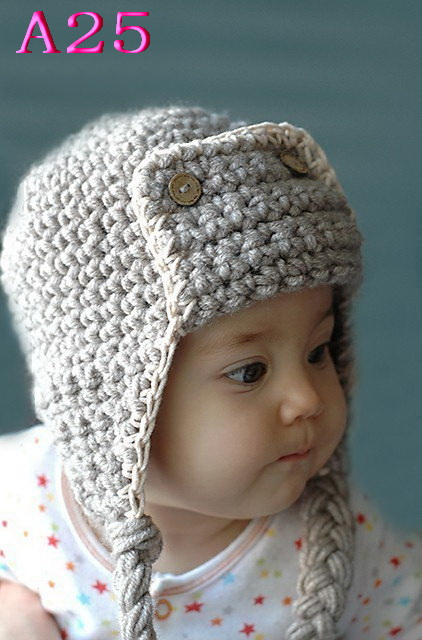 Free shipping, 100pcs/lot 100% cotton childrens hand-knitted hats, crochet aviator style hat childrens accessories pilots cap<br><br>Aliexpress