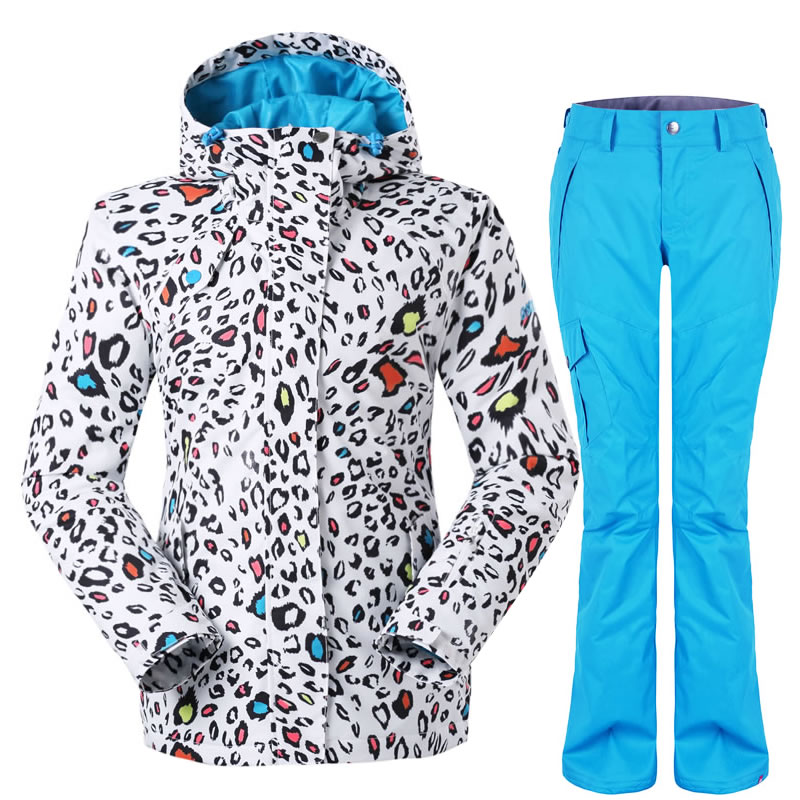 GSOU SNOW Women Leopard Ski Suit Ladies Ski Jacket Ski Pants Single Plate Waterproof Windproof Snow Clothing(China (Mainland))