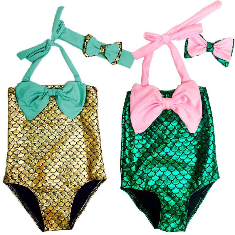 2016 New Hot Baby Girls Kids the Little Mermaid Bikini Set Swimwear Swimsuit Bathing Suit Costume 2 pcs 2-7Y