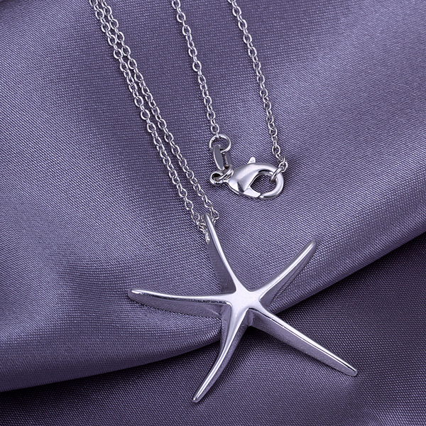 2016 New Top Quality Silver Plated & Stamped 925 jewelry big loverly starfish pendant necklace for men's fine jewerly wholesale(China (Mainland))