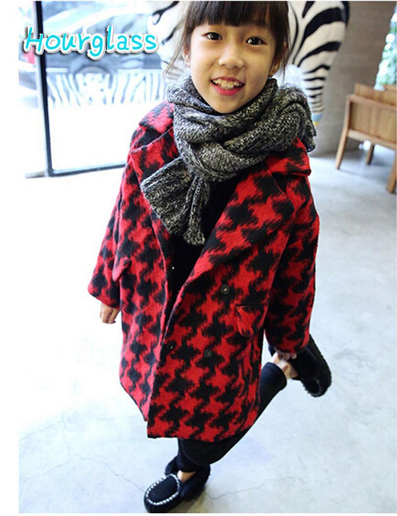 Здесь можно купить  New Arrive children clothing fahsion winter cardigan button pocket plaid casual kids girls coats wool blend outerwear  Детские товары