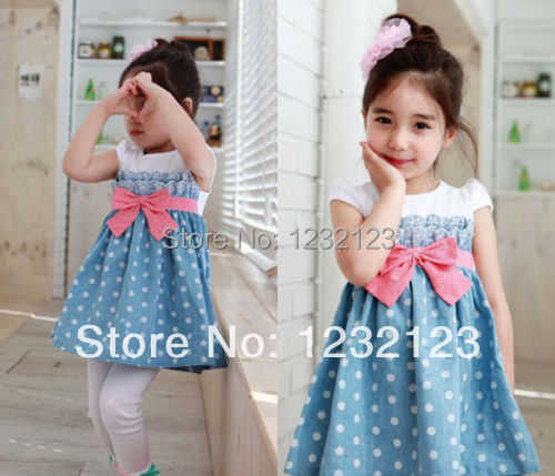 Гаджет  Details about Baby Kids Girls Toddlers Cowboy Blue Polka dot Bowknot Dress Clothes 1-6y lxj564 None Детские товары