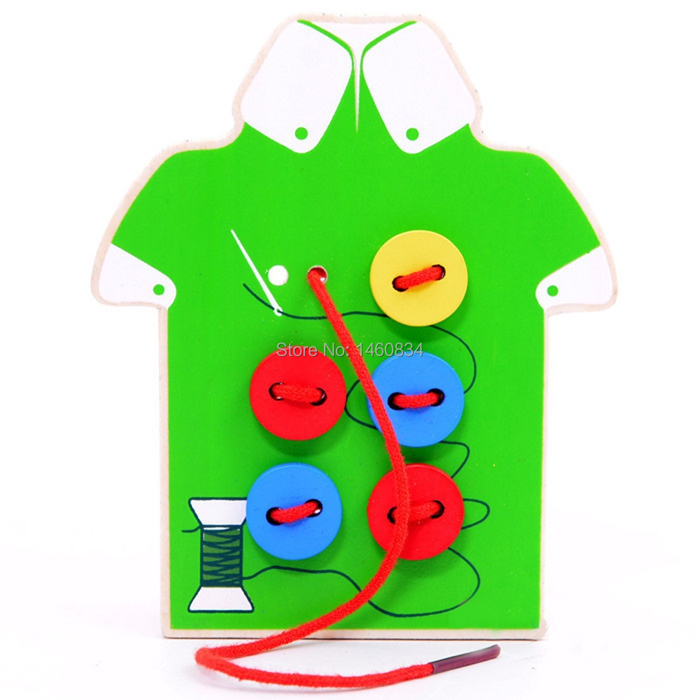 Little Fashion Designer Wooden String Clasp Threading Button Up Board Games Hand- eye coordination Educational Toy for Baby Kids(China (Mainland))