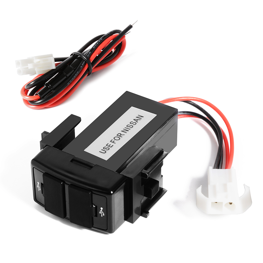 DC12V To 5V Dual USB Port Socket Power Adapter Car Charger for Cellphone for NISSAN BI193(China (Mainland))