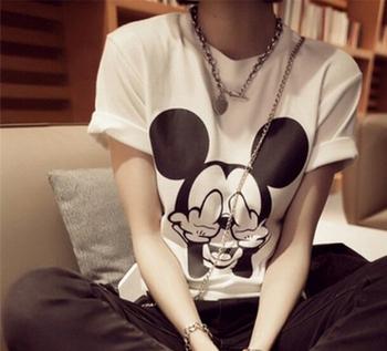 EAST KNITTING 2015 Women Mouse Short Sleeve t shirt Women Slim T shirts Free shipping TShirts Harajuku